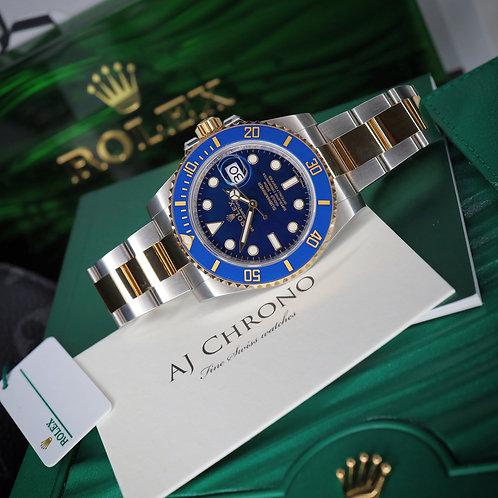 Unworn 2020 Gents Steel & 18ct Gold Rolex Oyster Perpetual Blue Kit Submariner
