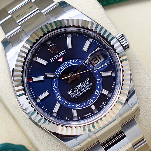 Unworn 2021 Rolex Oyster Perpetual Blue Dial Sky-Dweller Fully Stickered