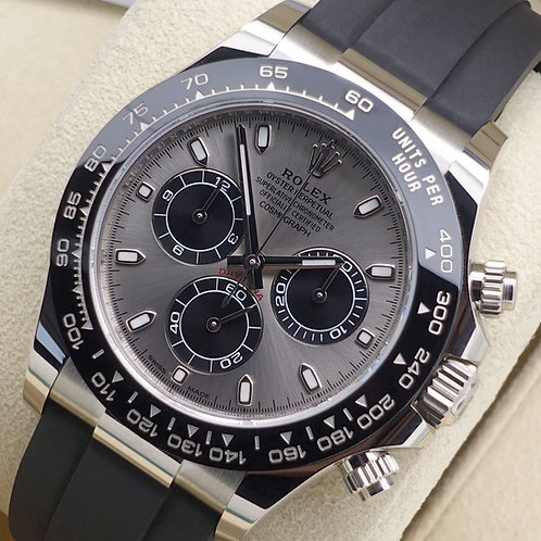 Unworn Gents 18ct White Gold Oysterflex Daytona Complete With Box & Papers 2019
