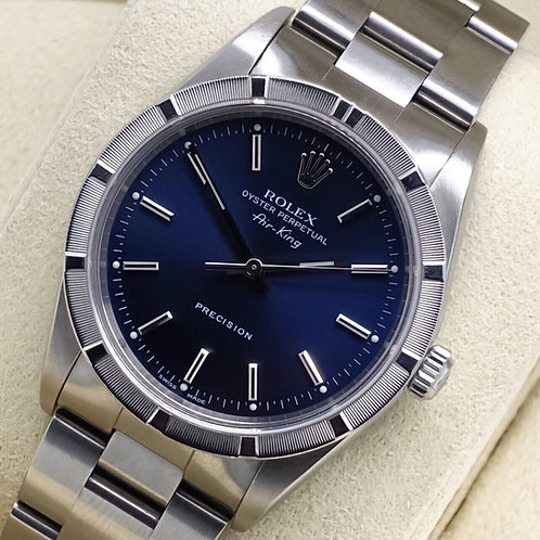 Gents Stainless Steel Rolex Air King With Blue Dial & Engineered Bezel