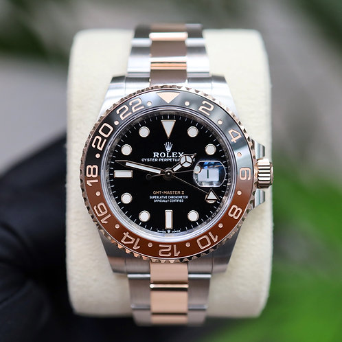 Unworn Gents Steel & 18ct Rose Gold Rootbeer GMT-Master II 2021 B &P
