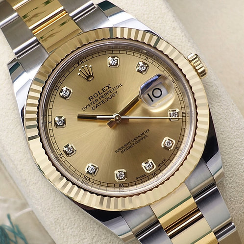 Unworn 2019 Steel & 18ct Gold Rolex Datejust 41 With Factory Diamond Dial 126333