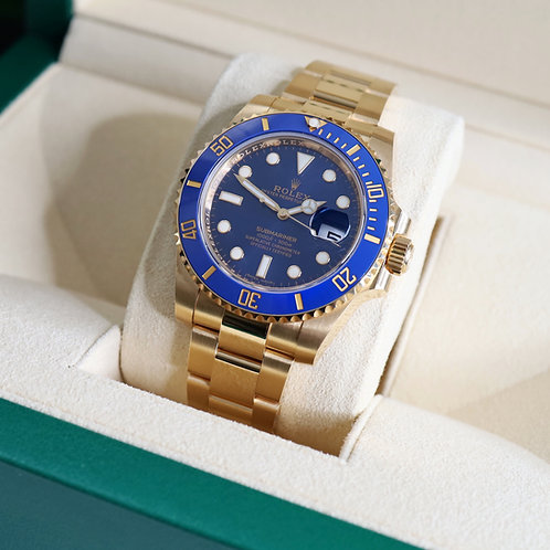 Unworn 18ct Yellow Gold Rolex Oyster Perpetual Submariner Date Blue Kit