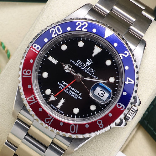 Stainless Steel Pepsi Rolex Oyster Perpetual GMT-Master II 16710 Service Papers
