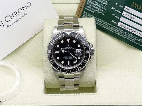 Stainless Steel Rolex GMT-Mater II 116710LN  2008 With Box & Papers
