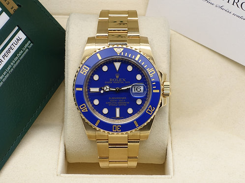 Mint 18ct Yellow Gold Rolex Oyster Perpetual Submariner Date Blue Kit 116618LB
