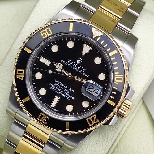 Gents Steel & 18ct Gold Rolex Oyster Perpetual Submariner Black Kit 116613LN