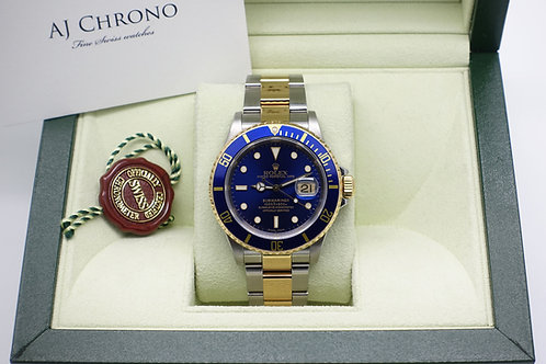 Gents Stainless & 18ct Gold Rolex Submariner Blue Kit 16613 Year 2000 With Box