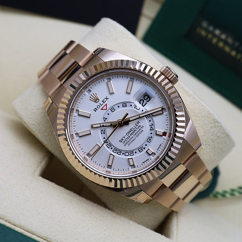 Unworn 2021 18ct Rose Gold Rolex Oyster Perpetual Sky-Dweller Ivory Dial