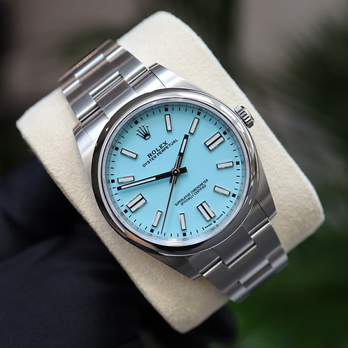 Unworn Gents Stainless Steel Rolex Oyster Perpetual 41 Tiffany Blue Dial 2021