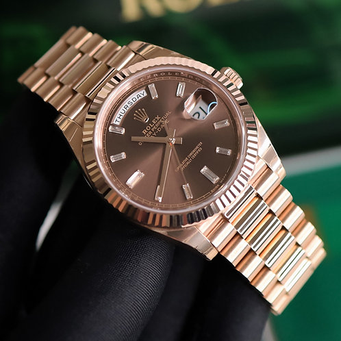 Unworn Rose Gold Factory Baguette Diamond Chocolate Dial Rolex Day-Date 40