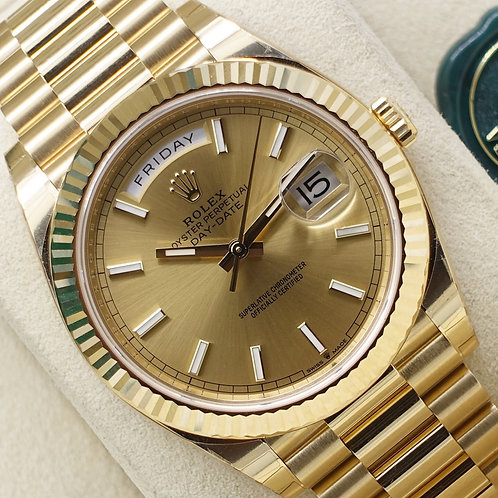 Unworn 2019 Champagne Dial Rolex Day-Date 40 228238 Complete With Box & Papers