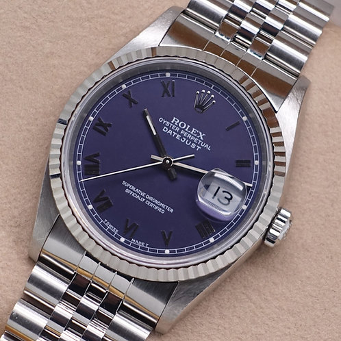 Gents Stainless Steel Rolex Oyster Perpetual Datejust Complete With Box & Papers