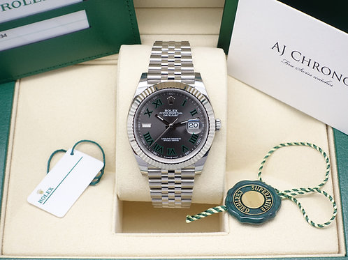 Gents Stainless Steel & 18ct White Gold Rolex Datejust 41 Wimbledon Dial 126334