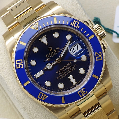 Gents 18ct Yellow gold Rolex Oyster Perpetual Submariner Date B & P 2019 Service