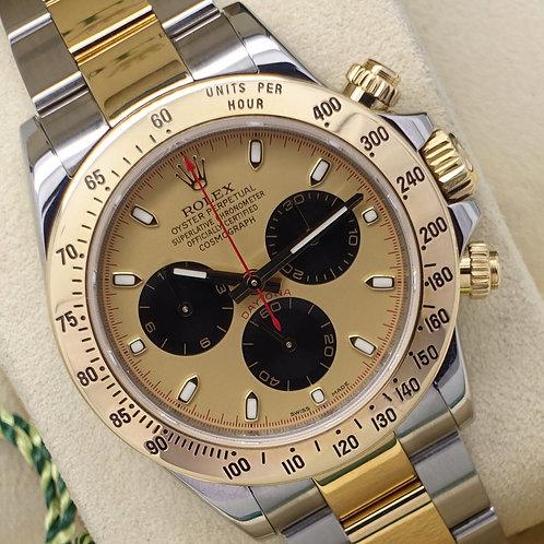 Gents Steel & Gold Rolex Oyster Perpetual Daytona Rare Paul Newman Dial 116523