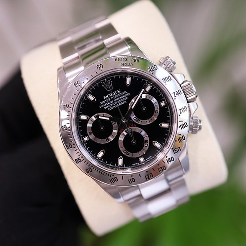 Final Production Black Dial Stainless Steel Rolex Cosmograph Daytona 116520