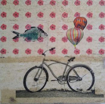 Encaustic Bicycle Collage