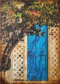 Key West Door Photograph and Encaustic