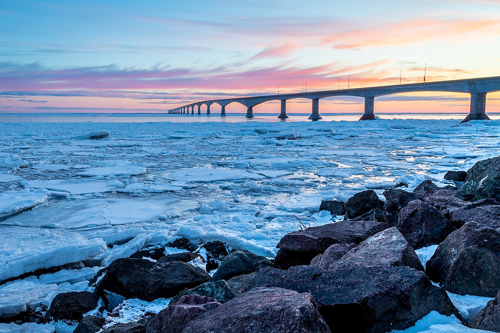 Confederation Bridge in the winter