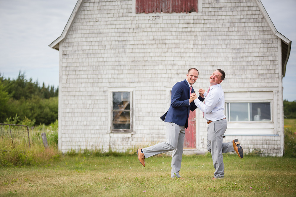 Groom and Best Man being silly