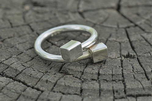 Silver Square Loop Ring