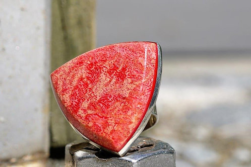 Silver Crazy Red Coral Ring