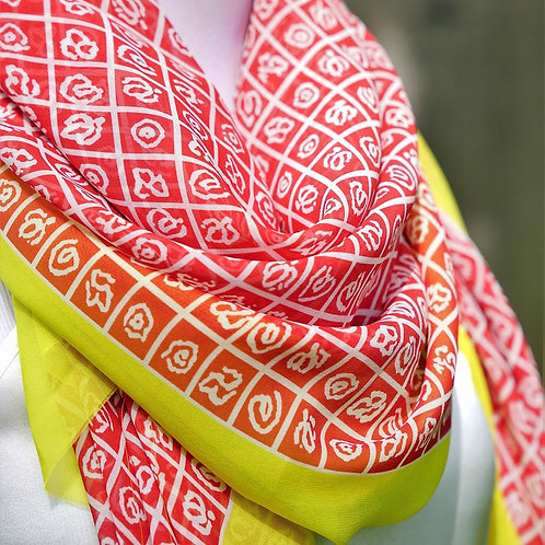 Printed Silk border scarf
