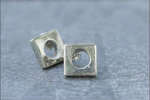 Silver Square Hole Earrings