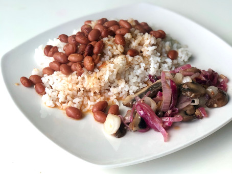 "Puerto Rican Rice & Beans with Sauteed Mushrooms ""Beefsteak"" style"