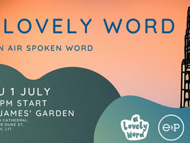 Poetry below Liverpool Cathedral as A Lovely Word goes open air
