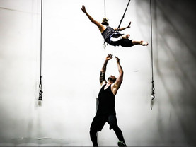 Wired Aerial Theatre performs on Liverpool waterfront