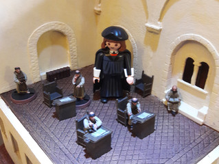 Playmobil Luther among the 28mm Models