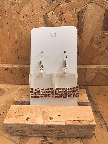 Rose Gold Shimmers Resin Earrings