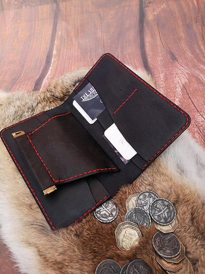 Black contrast stitch wallet