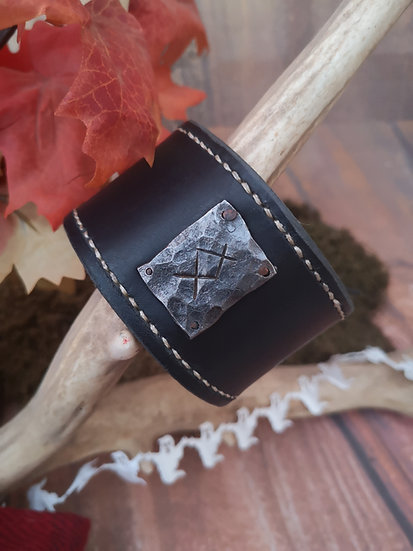 Leather Rune Cuff/Bracer - Viking style norse wrist band with handforged rune