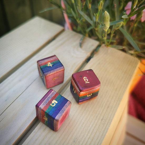 One Rainbow leather die (dice)