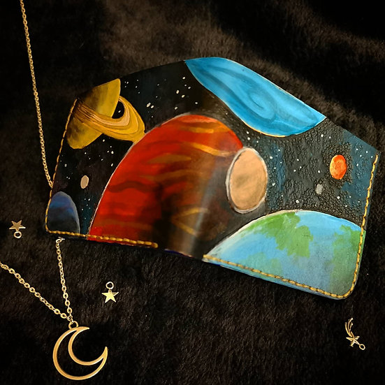 Hand painted one-of-a-kind Planets wallet