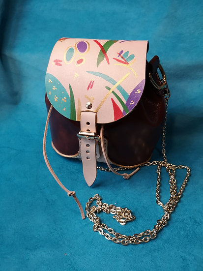 Hand-painted genuine leather small bag