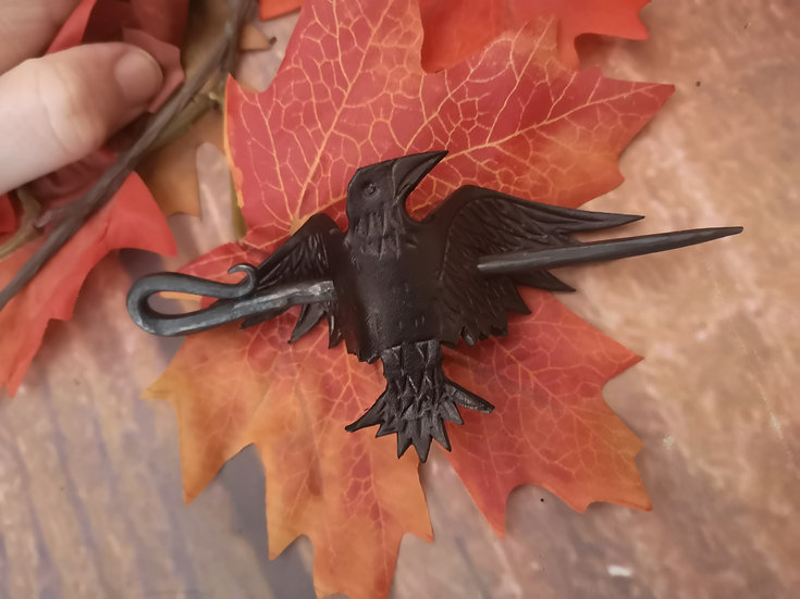 Leather Raven Hair Pin - Leather and steel crow bird hair pin clip barrette