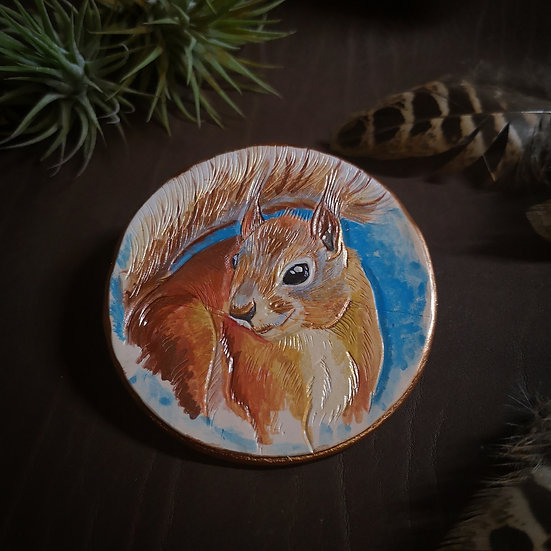 Red squirrel portrait - British wildlife leather decoration