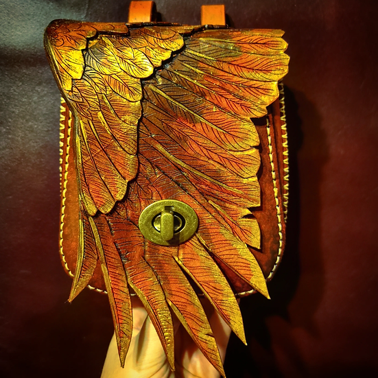 Custom wing bag - handcrafted genuine leather belt pouch or bag