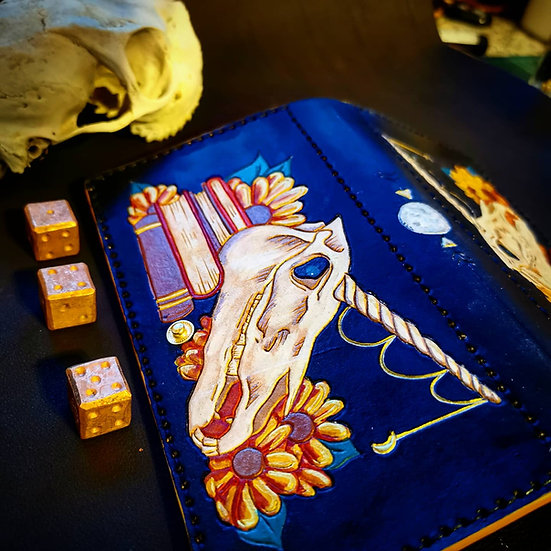 Unicorn and sunflowers - handcrafted genuine leather wallet