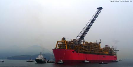 Prelude floating LNG facility sails toward Australia