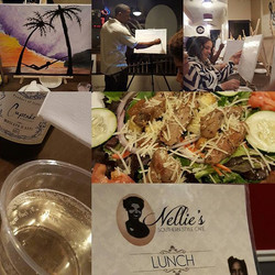 Paint and Sip at _nelliesoutherncafe! Had a great time! #GoodFood #ExcellentService #GrownFolksOnly
