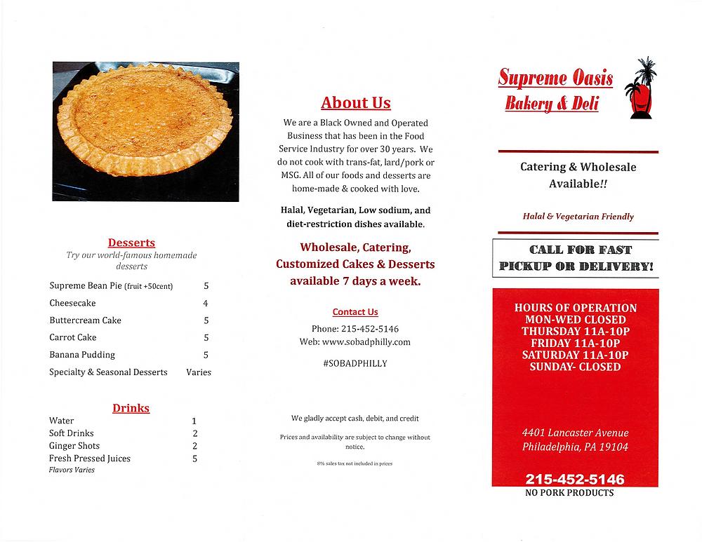 Supreme Oasis Bakery and Deli menu