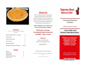 Supreme Oasis Bakery and Deli menu