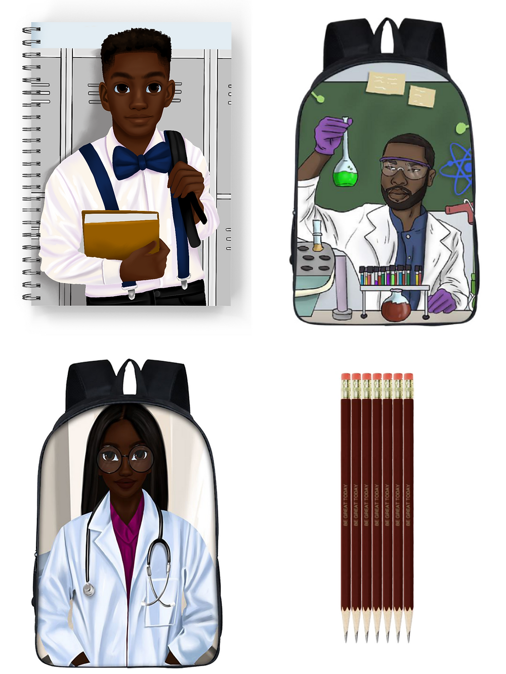 Minor Educated, Black-owned notebooks, penicls, backpacks