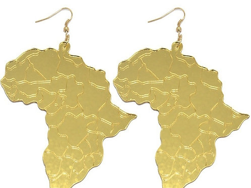 Gold Acrylic Mirror Mother Africa Earrings