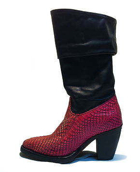 Snake mixed Cow leather Lady Boot